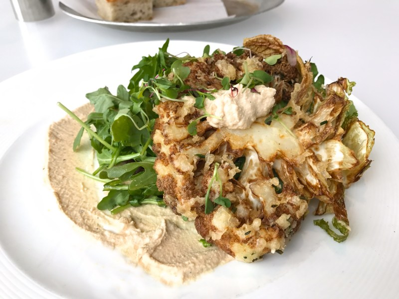Battered Cauliflower Steak, lentils, almond lime dressing