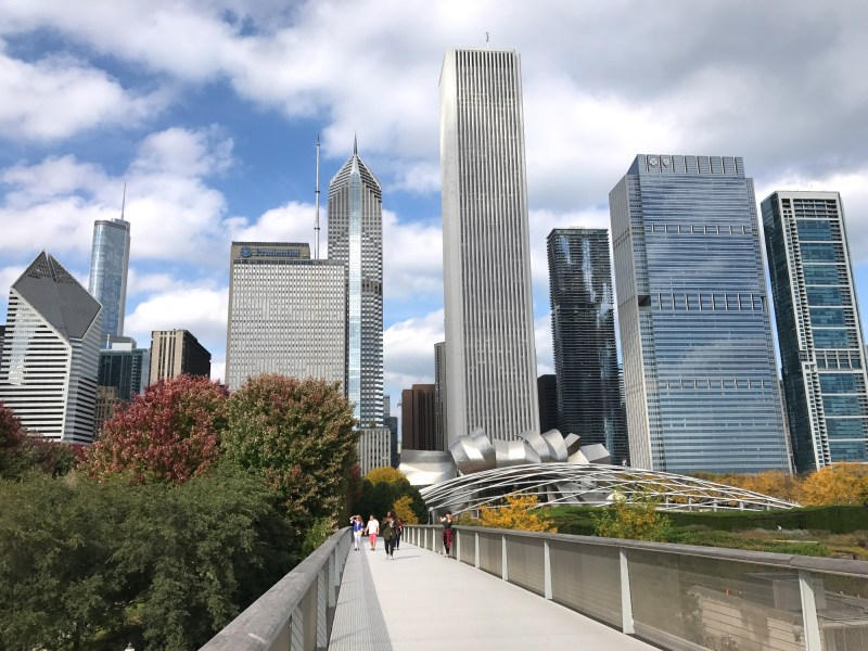 Chicago skyline from Modern Art Wing bridge