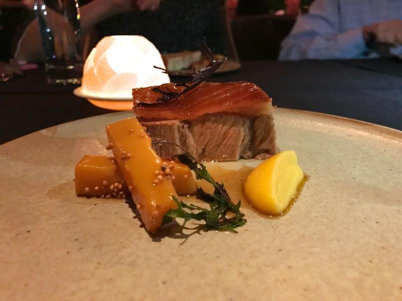Slow Cooked Pork Collar, rutabaga, mustard