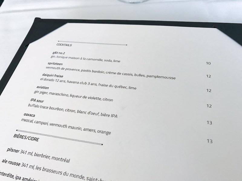 Drink menu at Bouillon Bilk