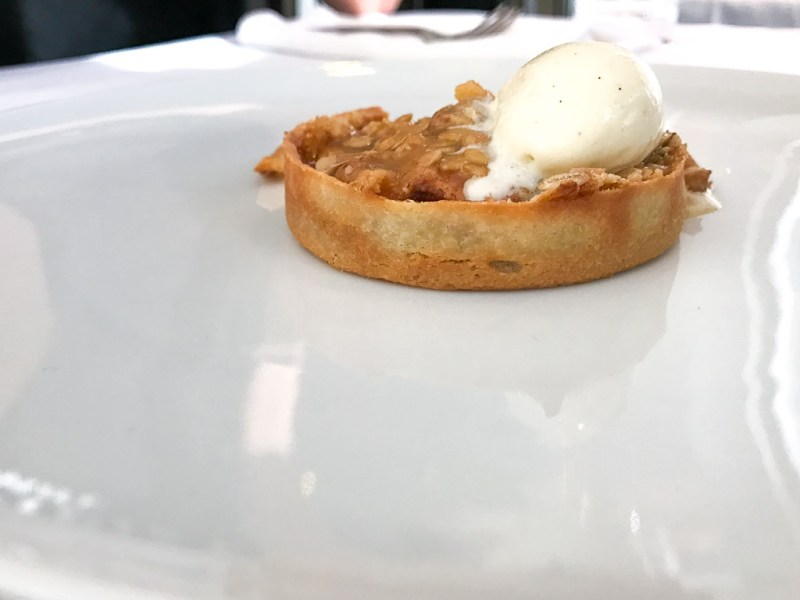 Apple Crumble, walnuts, mascarpone, miso caramel