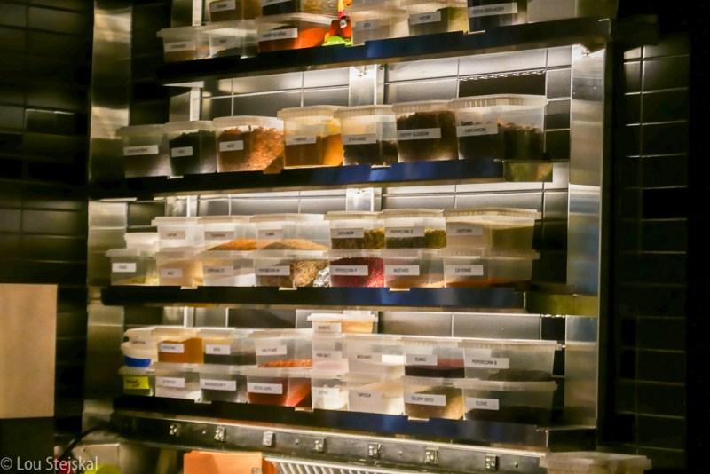 Spice wall at Momofuku Ko