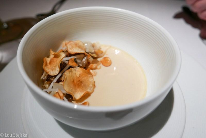 Mushroom Chawanmushi, Sunchokes, Hazelnuts, Kohlrabi