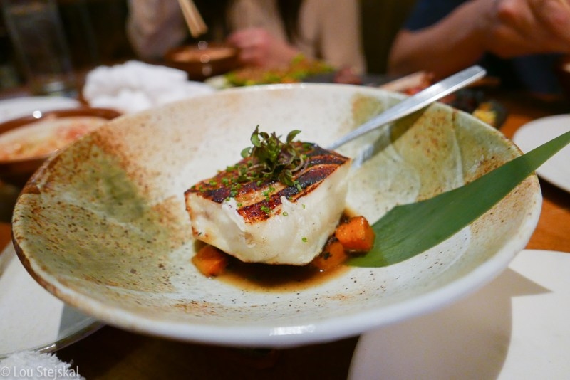 Grilled Chilean Sea Bass, Roasted Butternut Squash, Peppercorn Broth