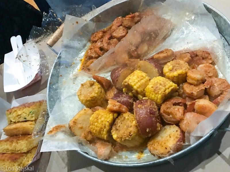Jalapeno Corn bread ($6) 2 lb Shrimp ($15/lb) Corn ($2) Potatoes ($2)