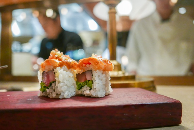Maki: Ceviche Maki with Whitefish, Tuna, Shrimp, Jalapeno, Shiso [Juno]