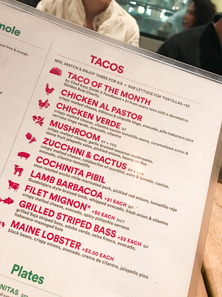 Taco selections at Puesto