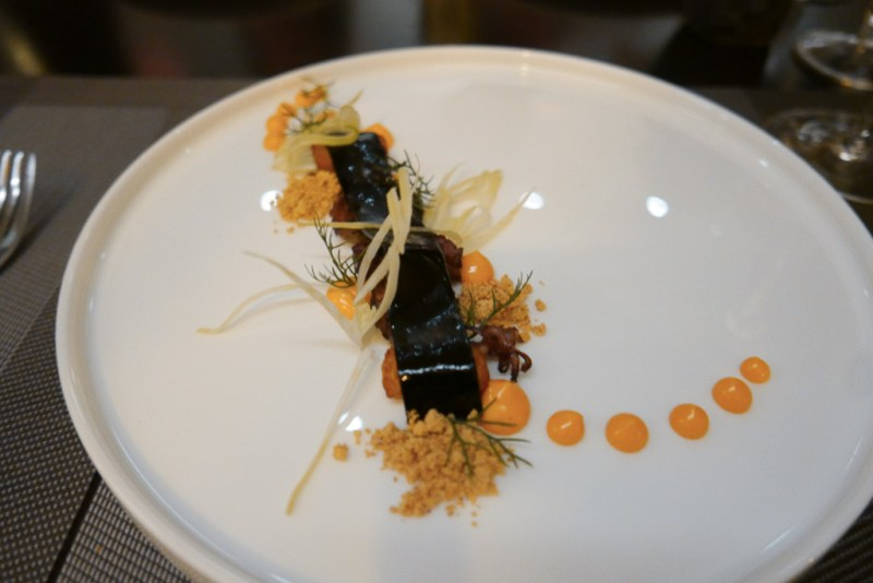 Grilled Cuttlefish, Baby Octopus, Squid Ink Noodle, Chorizo mayo, Fennel