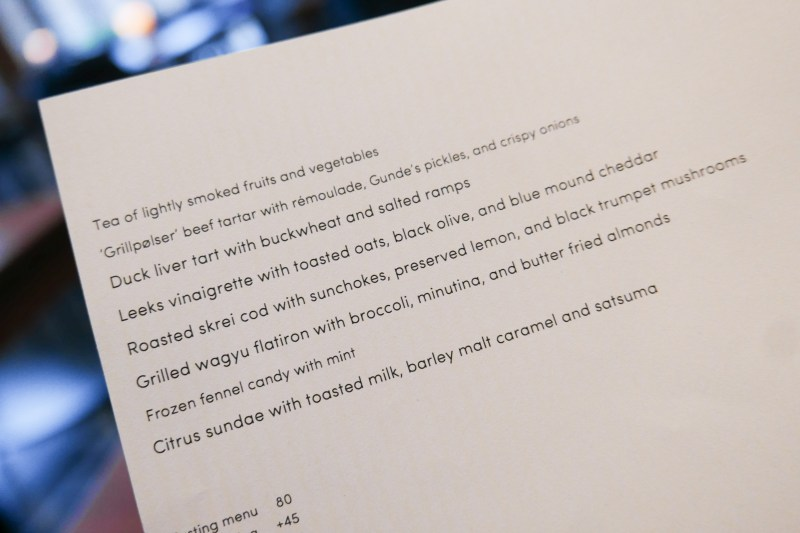 Tasting Menu at Elske ($80) Wine Pairing (+45). Non-alcoholic (+25)
