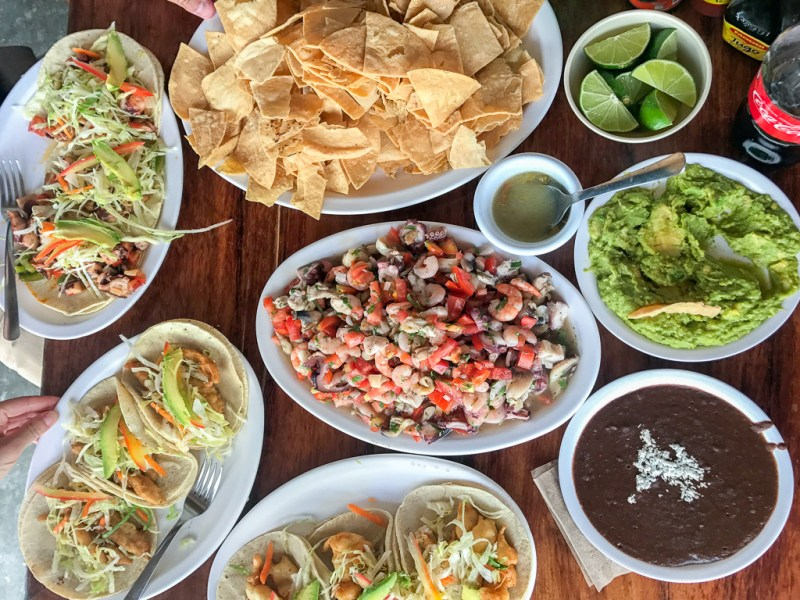 Seafood tacos, ceviche. Chips, beans and guacamole