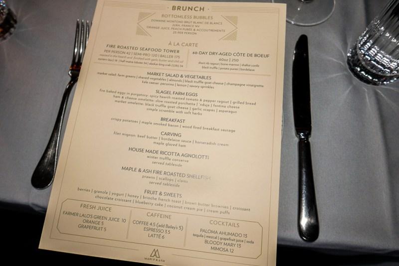 Maple & Ash brunch menu (Jun 25, 2017)
