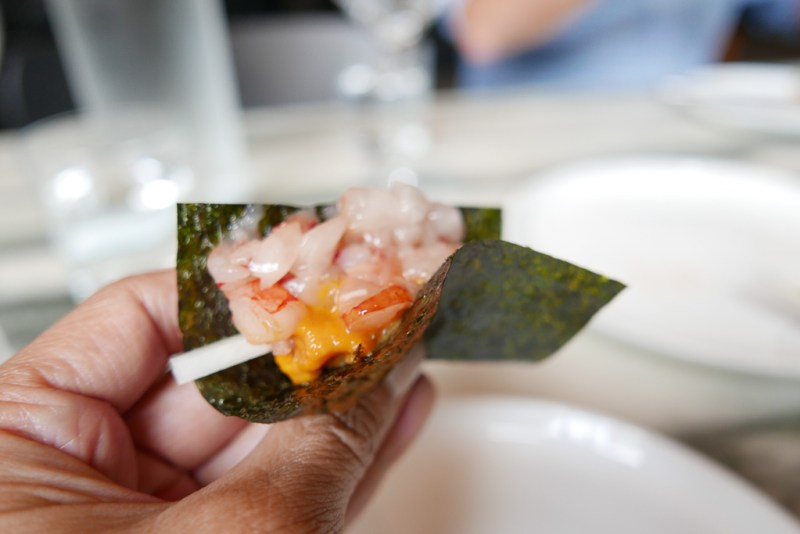 Red Shrimp with Sea Urchin and Nori ($22)