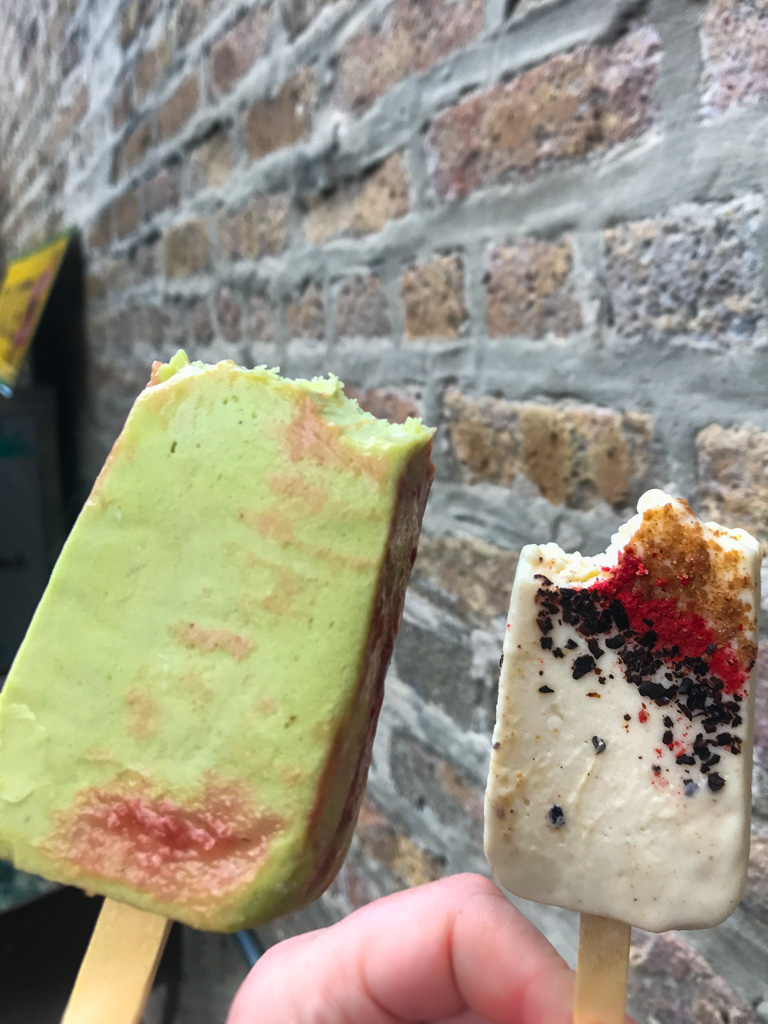 Avocado, strawberry and Cheesecake, graham, pasilla peppers paletas