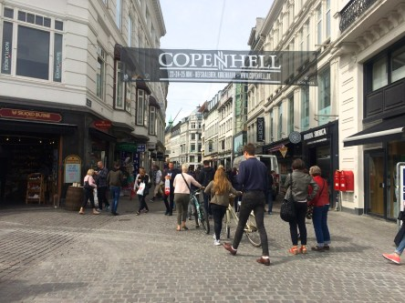 Entrance to the pedestrian walkway filled with shops and restaurants