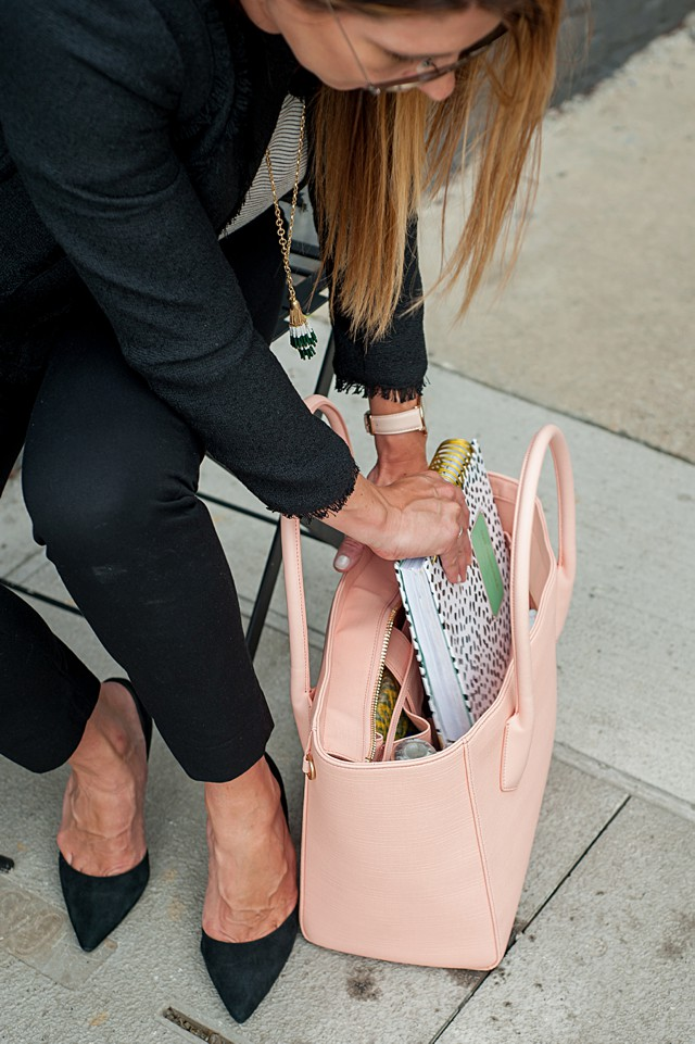 Dagne Dover 15-inch tote Pale Pink Stingray (8)