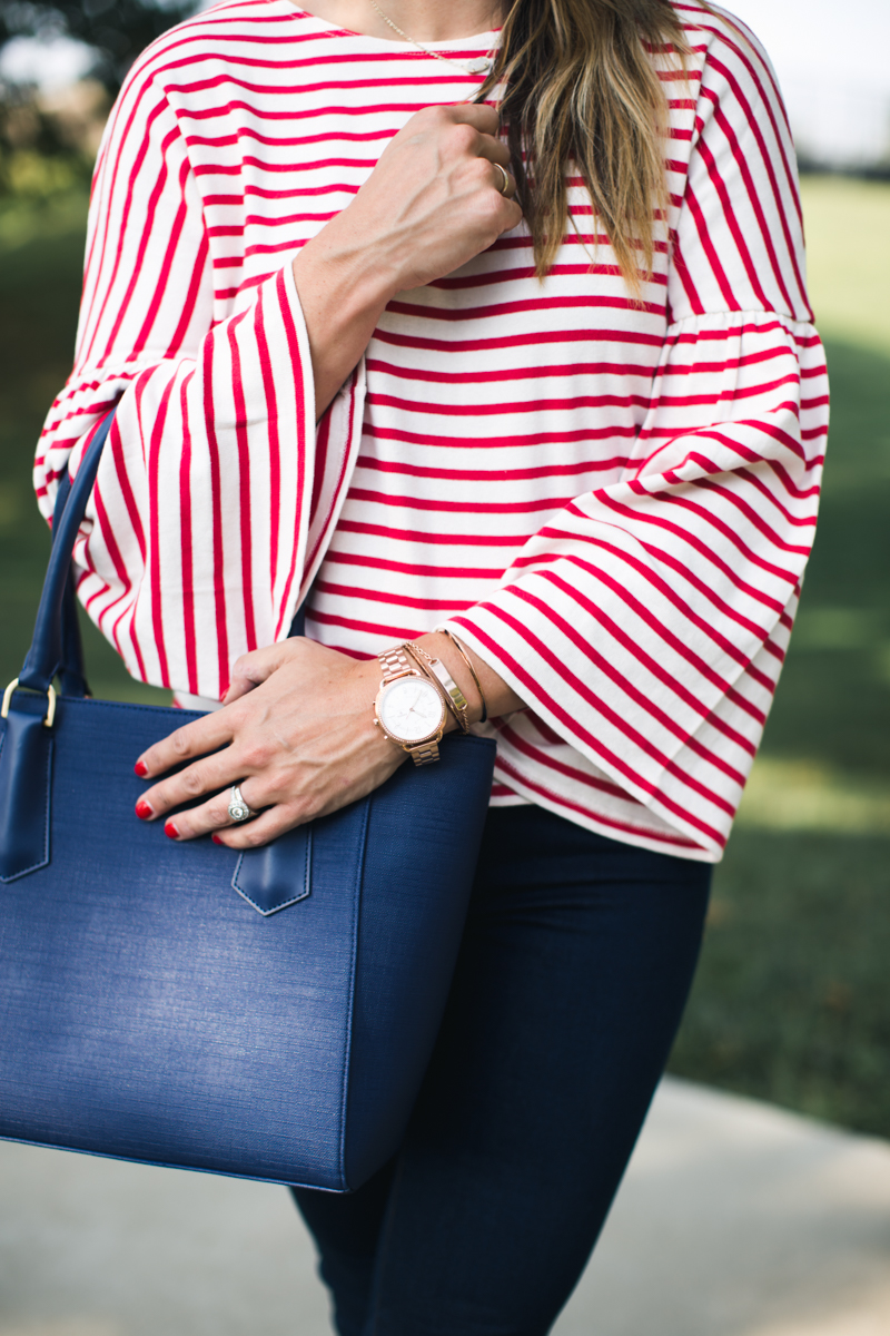J.Crew Stripe Bell Sleeve T-Shirt | red stripe tee | red white and blue | fall preppy outfitsa