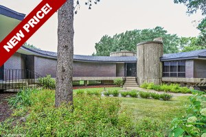 NEW PRICE! Fantastic Curved Mid-Century Modern / Brutalist Hillside Ranch in Barrington!