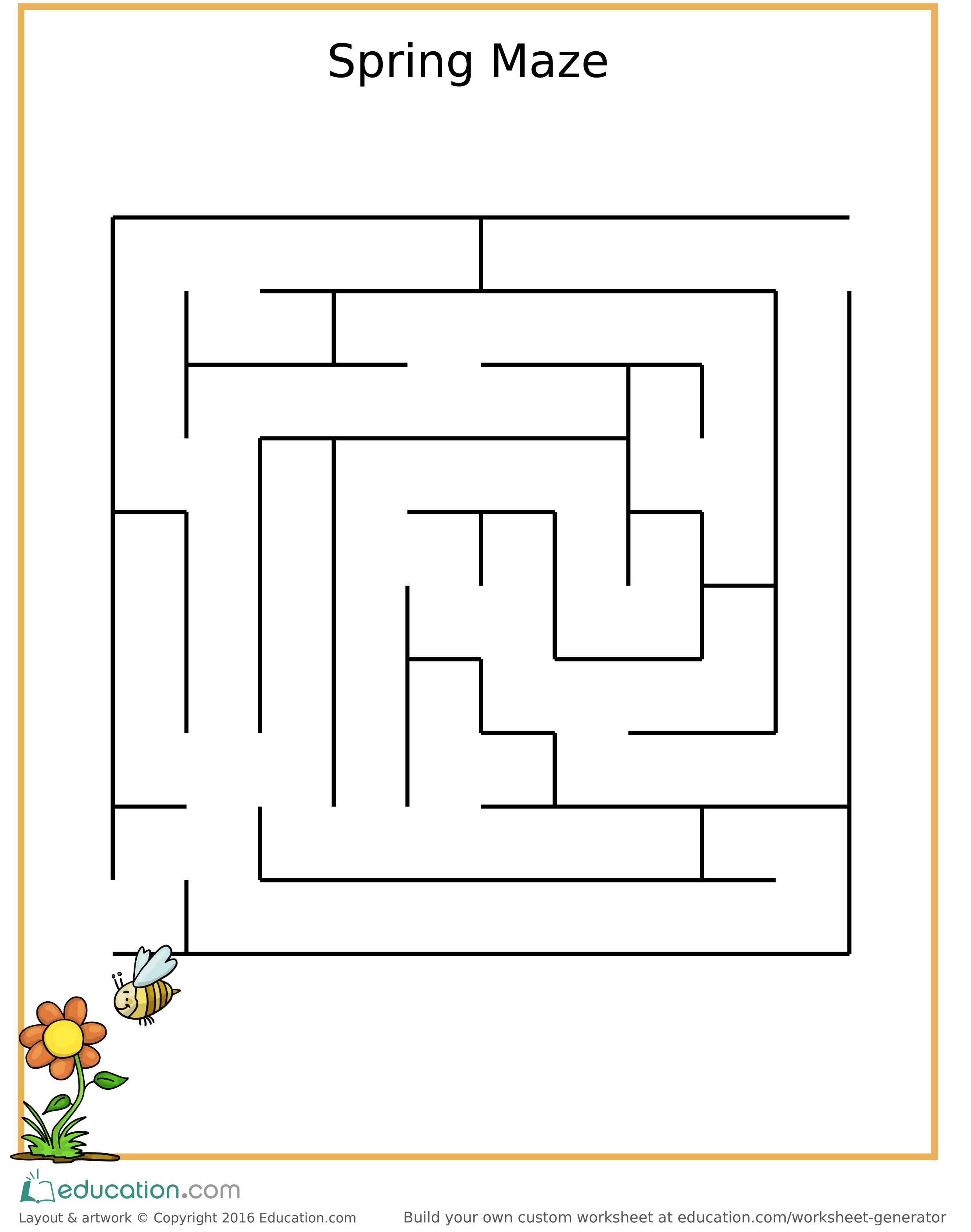 Fun Spring Maze For Children Free Printable