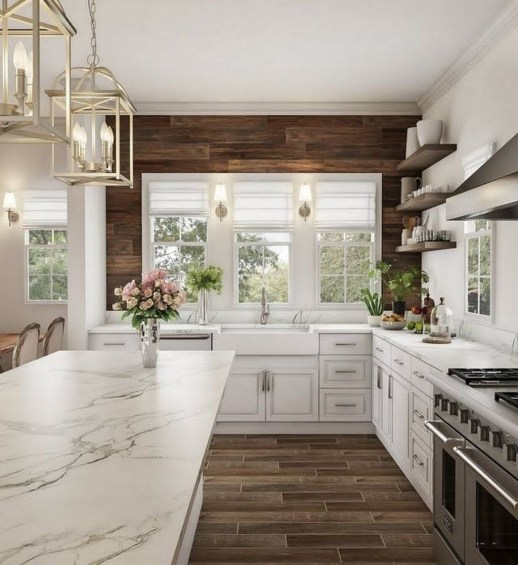 Stunning Wood Floor Ideas To Beautify Your Kitchen Room 19