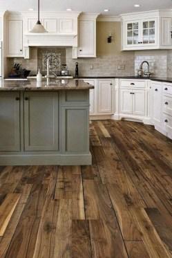 Stunning Wood Floor Ideas To Beautify Your Kitchen Room 37