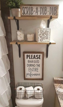 Inspiring Bathroom Decoration Ideas With Wooden Storage 08