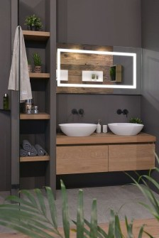 Inspiring Bathroom Decoration Ideas With Wooden Storage 11