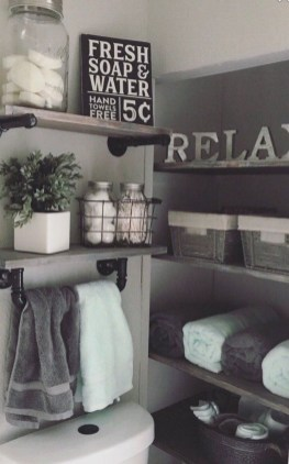 Inspiring Bathroom Decoration Ideas With Wooden Storage 15