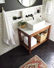 Impressive Black Floor Tiles Design Ideas For Modern Bathroom 19