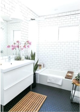 Impressive Black Floor Tiles Design Ideas For Modern Bathroom 24