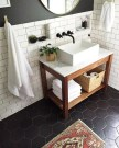 Impressive Black Floor Tiles Design Ideas For Modern Bathroom 39