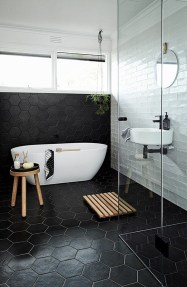 Impressive Black Floor Tiles Design Ideas For Modern Bathroom 41