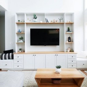 Easy And Simple Shelves Decoration Ideas For Living Room Storage 32