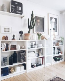 Easy And Simple Shelves Decoration Ideas For Living Room Storage 37