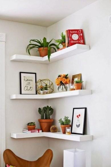 Creative Floating Corner Shelves For Living Room Organization Ideas 09