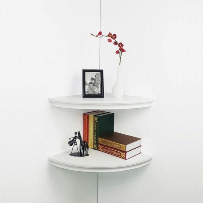 Creative Floating Corner Shelves For Living Room Organization Ideas 33