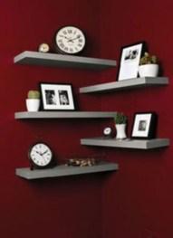 Creative Floating Corner Shelves For Living Room Organization Ideas 39