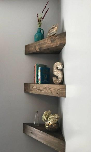 Creative Floating Corner Shelves For Living Room Organization Ideas 45
