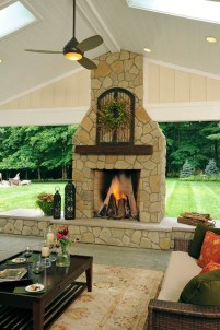 Marvelous Backyard Fireplace Ideas To Beautify Your Outdoor Decor 05