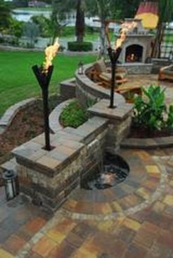 Marvelous Backyard Fireplace Ideas To Beautify Your Outdoor Decor 26