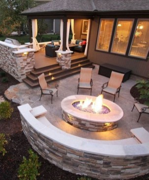 Marvelous Backyard Fireplace Ideas To Beautify Your Outdoor Decor 36