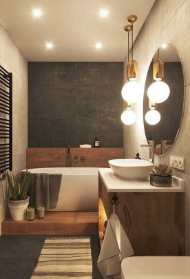 Unordinary Bathroom Design Ideas With Stunning Wood Shades 27