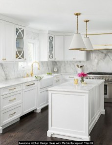 Awesome Kitchen Design Ideas With Marble Backsplash Tiles 05