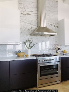 Awesome Kitchen Design Ideas With Marble Backsplash Tiles 15