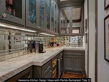 Awesome Kitchen Design Ideas With Marble Backsplash Tiles 22