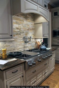 Awesome Kitchen Design Ideas With Marble Backsplash Tiles 25