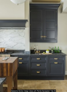 Awesome Kitchen Design Ideas With Marble Backsplash Tiles 36