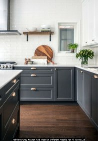 Fabulous Gray Kitchen And Wood In Different Models For All Tastes 28