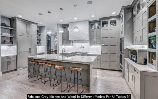 Fabulous Gray Kitchen And Wood In Different Models For All Tastes 34
