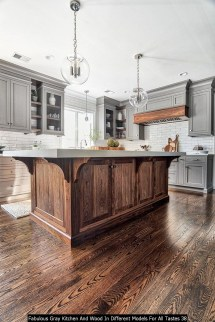 Fabulous Gray Kitchen And Wood In Different Models For All Tastes 38