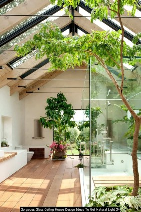 Gorgeous Glass Ceiling House Design Ideas To Get Natural Light 34